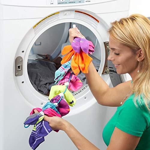 SockDock calcetín Herramienta de lavandería para Lavar, secar y almacenar Pares de Calcetines, Clips y candados, sin clasificar ni Combinar, Organizador de Armario, Paquete de 2 Azul