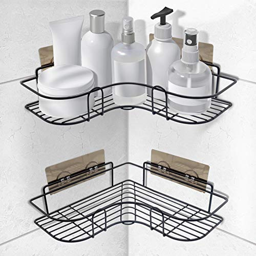 SYOSIN Estanteria Ducha,Estantería de Esquina para Baño Pared Rinconera Ducha Estante Baño con Adhesivo para Accesorios de Cocina y Baño(2 Piezas,Negro)