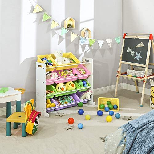 SONGMICS Estantería de Juguetes para Niños, Organizador de Juguetes para niños, Unidad de Exhibición en la Sala de Juegos con 12 Cajas de PP Extraíbles, Color Caramelo, 86 x 26,5 x 78 cm GKR04KL