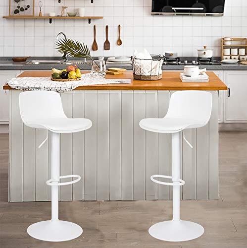 YOUNIKE Taburetes de Bar Altura Ajustable y rotación de 360°, diseño Moderno y ergonómico para Bar, mostrador, Cocina y hogar,Paquete de 2 Unidades Negro