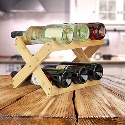 Relaxdays botellero Vino 6 Botellas Plegable en Forma de x, bambú, marrón, 22 x 36 x 20 cm, Bamboo, Naturaleza