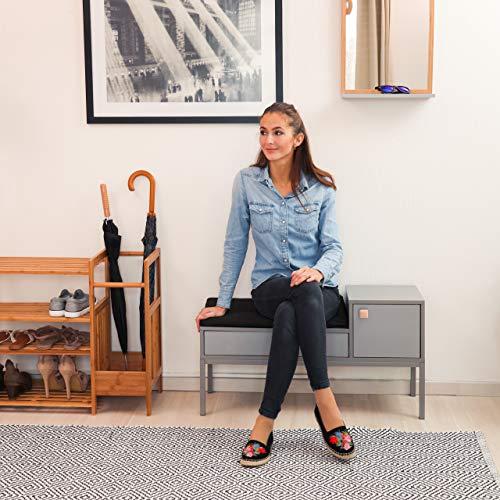 Relaxdays - Cómoda para Pasillo, 2 Compartimentos, cajón, Asas de Madera, Patas de Metal, estrechas, 50 x 90 x 30 cm, Color Gris