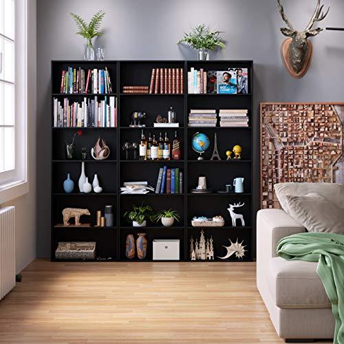 Homfa Librería Estantería para Libros Ajustables Estantería de Madera Estantería de Pared para Oficina Dormitorio Salón con 4 Niveles Negro 60x23.5x180cm