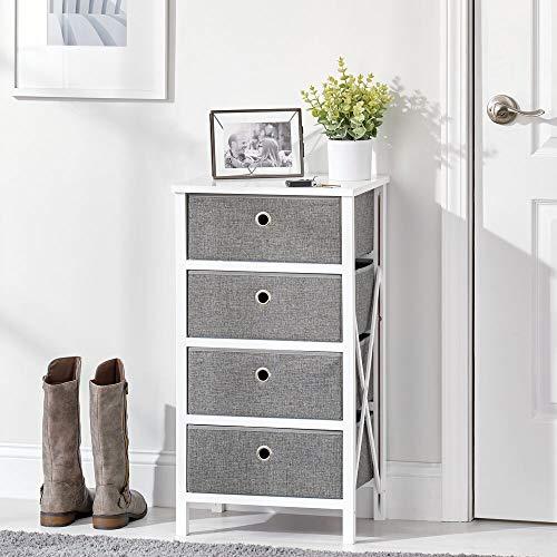 mDesign Mesita de noche con 4 cajones para artículos del hogar o ropa – Cómoda de madera con cajones de tela – Compacta mesita auxiliar plegable para pasillo, salón o dormitorio – blanco y gris