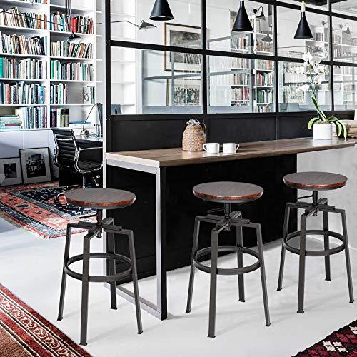 Homy Casa - Juego de 2 taburetes ajustables para desayuno, rotación de 360 ° con reposapiés rápido para cocina, sala de estar, nogal