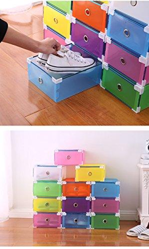 Vinteky® 10x Cajas Almacenaje Plegable de plástico Cajón Organizador Transparente envase de la Caja para Zapatos Apilable Plegable Contenedor. (Negro, Metal Border)