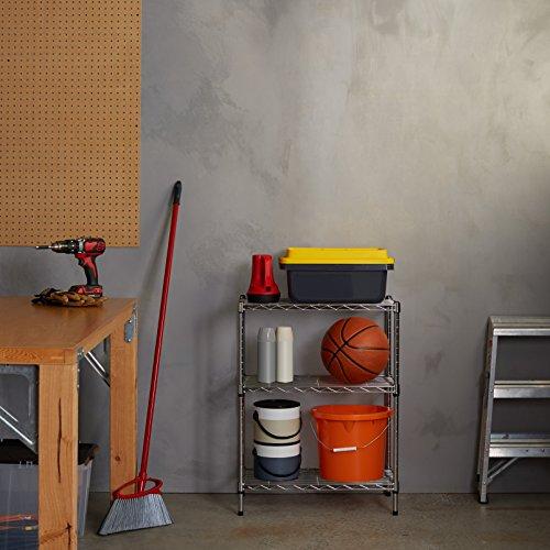 AmazonBasics - Estantería con 3 baldas, cromado