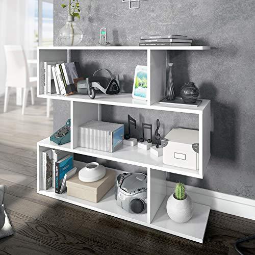 Habitdesign Estantería Baja, Salon, Comedor, Modelo Athena, Acabado en Color Blanco Brillo, Medidas: 97 cm (Alto) x 110 cm (Ancho) x 25 cm (Fondo)