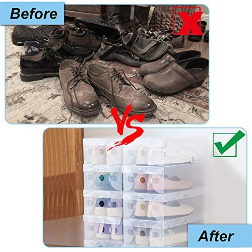 PERFETSELL 12Pcs Cajas Zapatos Transparentes, Cajas para Guardar Zapatos, Cajas Apilables, Cajas Organizadoras Zapatos, Caja de Almacenamiento, Cajas de Plastico para Zapatos (27.6*18.5*9.5cm, 41 EU)