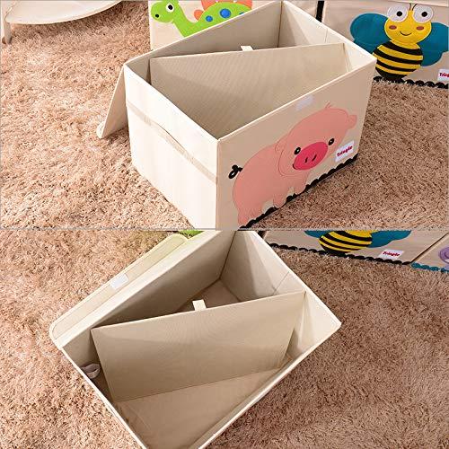 Gran Caja de Almacenamiento Cofre de Juguete con Tapa Plegable y Resistente Ideal para Que Tus Hijos Guarden los Juguetes Caja Organizador 65L (Tiger)