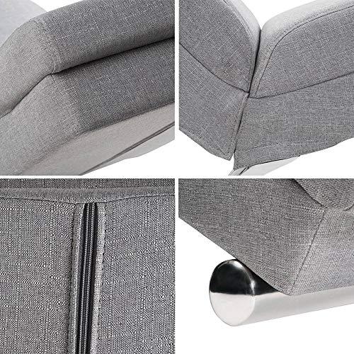 Casaria Diván Chaise Loungue 'London' Gris sillón Interior Respaldo Alto para salón hogar 186x55cm Capacidad de 180Kg