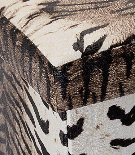 Intirilife Puff Baúl Plegable 30x30x30 cm in Motivo Tigre – Taburete Almacenaje Tapizado de Textil Tela Óptica Lino per Almacenamiento y Reposapiés