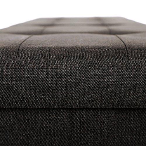 SONGMICS Baúl Puff Taburete para almacenaje Plegable Textil Lino Chocolate 76 x 38 x 38 cm LSF47Q
