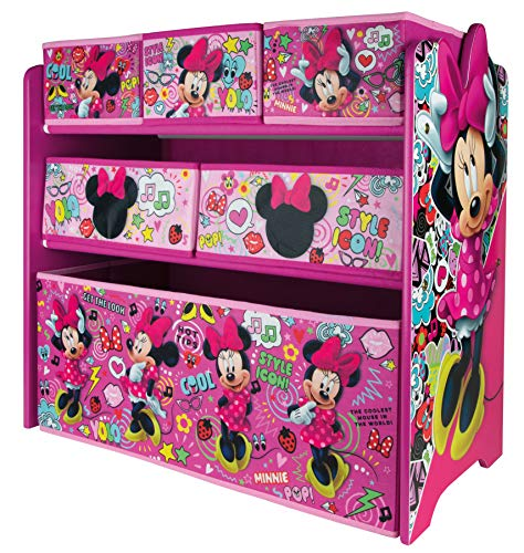 URBNLIVING Disney Minnie Mouse Caja de juguetes para dormitorio de niños, unidad de almacenamiento de estantes organizador, dormitorio infantil sala de juegos